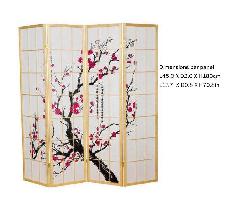 Japans Kamerscherm L180xH180cm Shoji Rijstpapier 4 Panelen - Sakura Nat