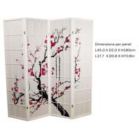 Fine Asianliving Japans Kamerscherm L180xH180cm Shoji Rijstpapier 4 Panelen - Sakura Wit