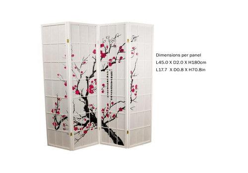 Fine Asianliving Fine Asianliving Japans Kamerscherm L180xH180cm Shoji Rijstpapier 4 Panelen - Sakura Wit