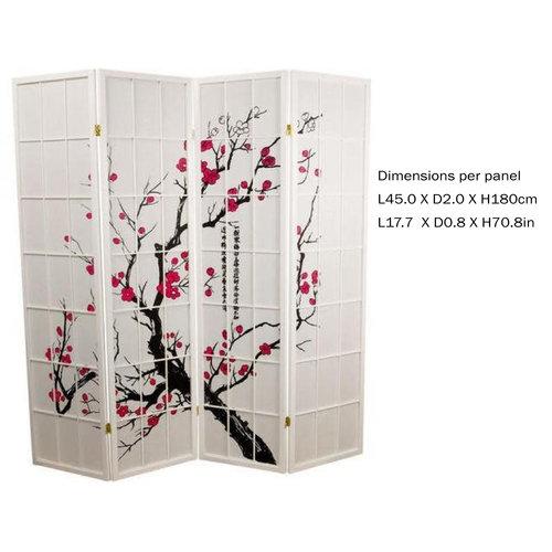 Japanese Room Divider Privacy Screen Rice-paper 4 Panel - Sakura Cherry Blossoms White