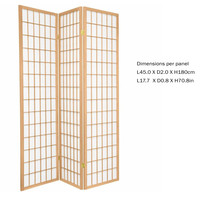PREORDER 26/11/2020 Fine Asianliving Japanese Room Divider L135xH180cm Privacy Screen Shoji Rice-paper 3 Panel - TANA/N3