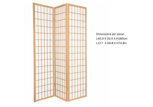 Fine Asianliving Biombo Separador Japonés Anch.135 x Alt.180 cm Shoji Papel de Arroz 3 Paneles - TANA / N3