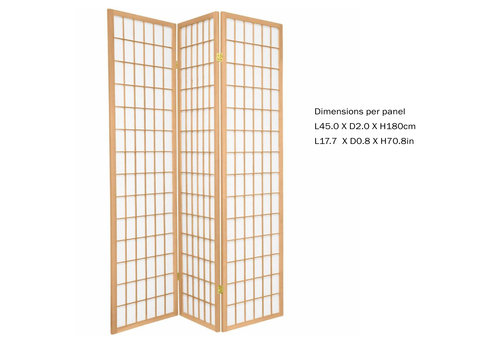 Fine Asianliving Fine Asianliving Japans Kamerscherm L135xH180cm Shoji Rijstpapier 3 Panelen - TANA/N3