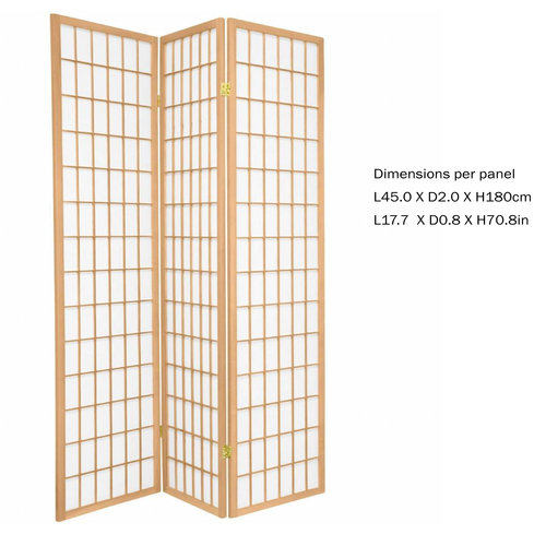 Japanese Room Divider Privacy Screen Rice-paper 3 Panel - TANA/N3