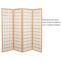 Fine Asianliving Japans Kamerscherm L180xH180cm Shoji Rijstpapier 4 Panelen - TANA/N4
