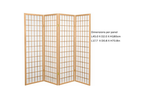 Fine Asianliving Japanischer Paravent Raumteiler Trennwand 4-teilig Shoji Reispapier - Naturell - B180xH180cm