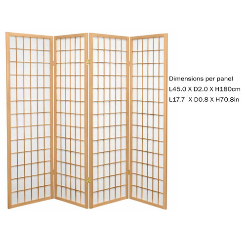 Fine Asianliving Paravent Japonais L180xH180cm Séparateur 4 Panneaux Cloison de Séparation Amovible Diviseur