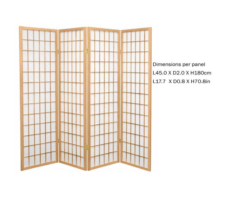 Fine Asianliving Japanischer Raumteiler L180xH180cm Paravent Shoji Reispapier TANA/N4