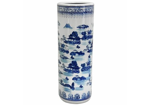 Fine Asianliving Umbrella Stand Porcelain Blue-White D25xH50cm