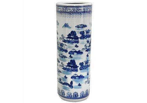 Fine Asianliving Umbrella Stand Porcelain Blue-White D25xH50cm