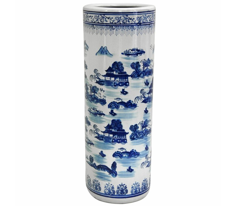 Umbrella Stand Porcelain Blue-White D25xH50cm