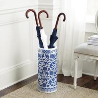 Parapluhouder Porselein Blauw-Wit Diverse Designs D25xH50cm