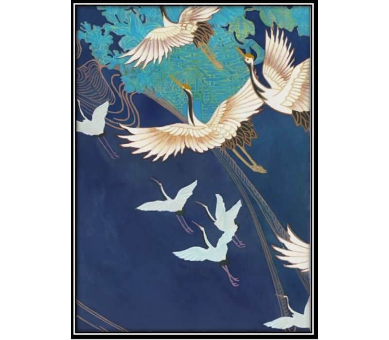 Aquarelle Painting Handmade Japanese Cranes with Frame Solid Wood 80x122cm Navy