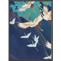 Fine Asianliving Aquarelle Painting Handmade Japanese Cranes with Frame Solid Wood 80x122cm Navy
