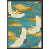 Fine Asianliving Fine Asianliving Aquarelle Schilderij Japanse Kraanvogels in Lijst Massief Hout 80x122cm Blauw