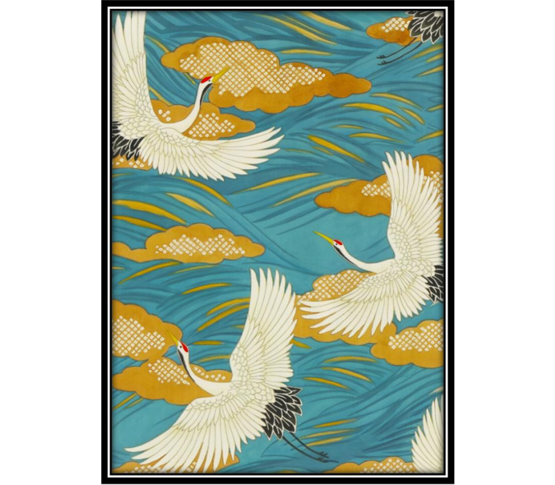 Aquarelle Painting Handmade Japanese Cranes with Frame Solid Wood 80x122cm Blue