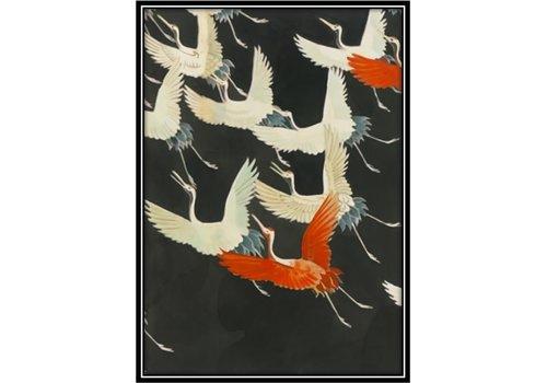 Fine Asianliving Aquarelle Schilderij Japanse Kraanvogels in Lijst Massief Hout 75x55cm Zwart