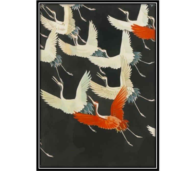 Aquarelle Schilderij Japanse Kraanvogels in Lijst Massief Hout 75x55cm Zwart