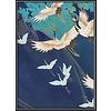 Fine Asianliving Aquarelle Schilderij Japanse Kraanvogels in Lijst Massief Hout 75x55cm Navy