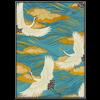 Fine Asianliving Fine Asianliving Aquarelle Schilderij Japanse Kraanvogels in Lijst Massief Hout 75x55cm Blauw