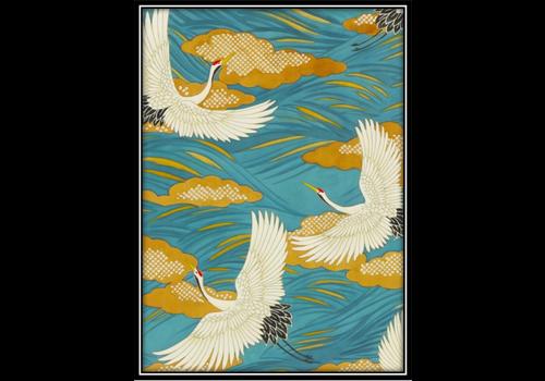 Fine Asianliving Aquarelle Schilderij Japanse Kraanvogels in Lijst Massief Hout 75x55cm Blauw