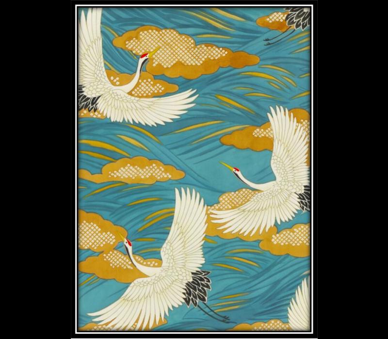 Aquarelle Schilderij Japanse Kraanvogels in Lijst Massief Hout 75x55cm Blauw