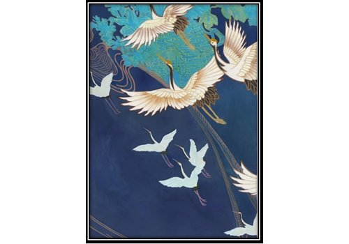 Fine Asianliving Print Art Japanese Cranes with Frame Solid Wood 75x55cm Navy