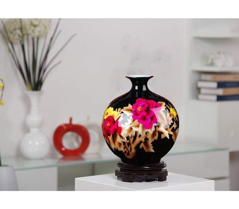 Chinese Vaas Porselein Handgemaakt Pioenrozen Zwart H29.5cm