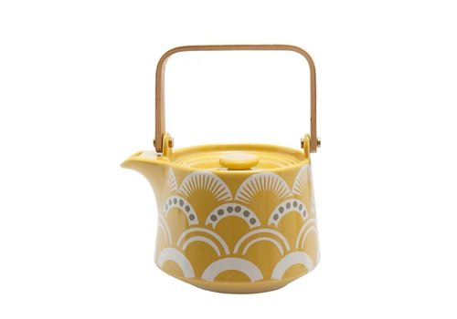 Fine Asianliving Japanese Teapot with Nami Waves Yellow 500ml
