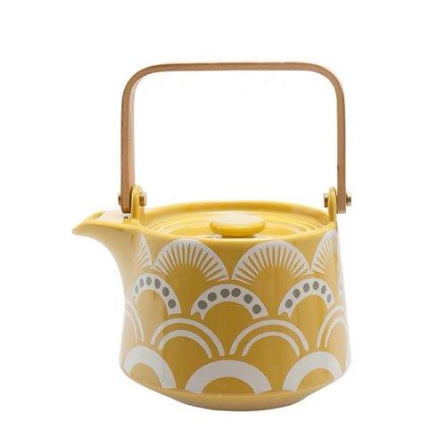 Japanese Teapot with Nami Waves Yellow 500ml