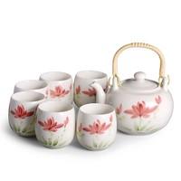 Chinese Theeset Porselein Craquelé Handbeschilderde Lotus Set/7