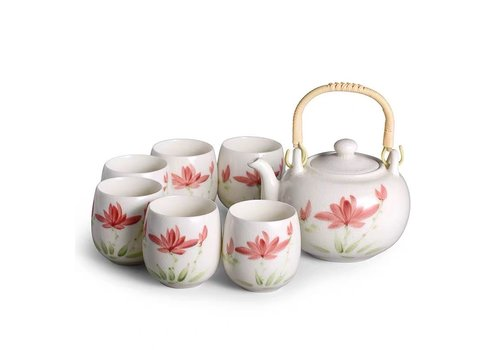 Fine Asianliving Chinese Theeset Porselein Craquelé Handbeschilderde Lotus Set/7