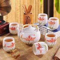 Fine Asianliving Chinese Teaset Porcelain Craquelé Handpainted Lotus Set/7