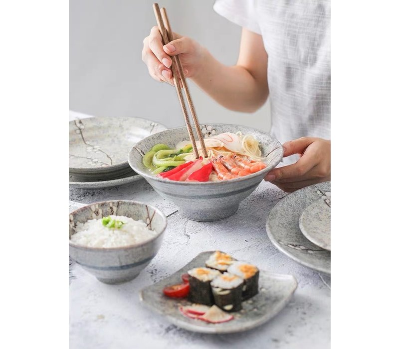 Fine Asianliving Japanese Tableware Soshun Grey Collection - Breakfast Plate 19x3cm