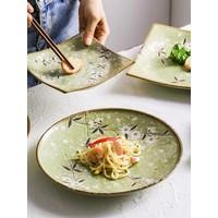 Fine Asianliving Japans Servies Soshun Glanzend Cosmos Groen - Serveerschaal 23x3cm