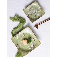 Fine Asianliving Japanese Tableware Soshun Glossy Cosmos Green - Serving Plate 23x3cm
