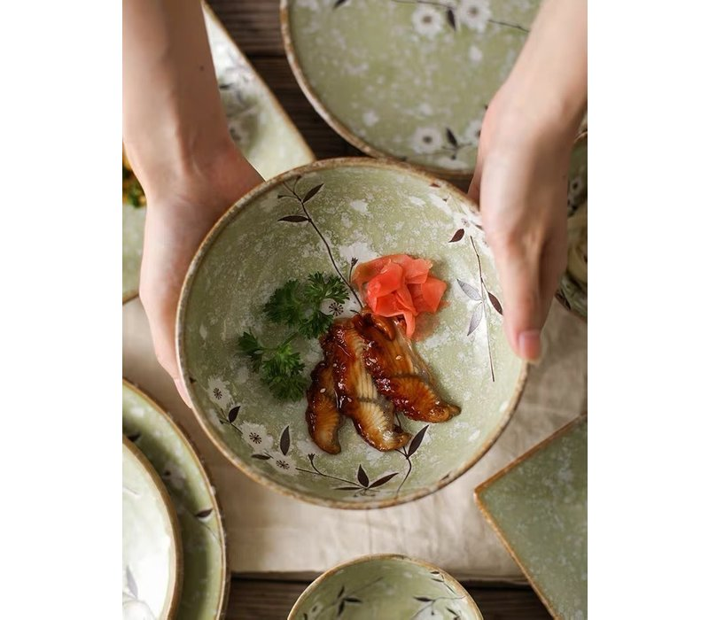 Fine Asianliving Japanese Tableware Soshun Glossy Cosmos Green - Soy Sauce Plate 11x4.5cm