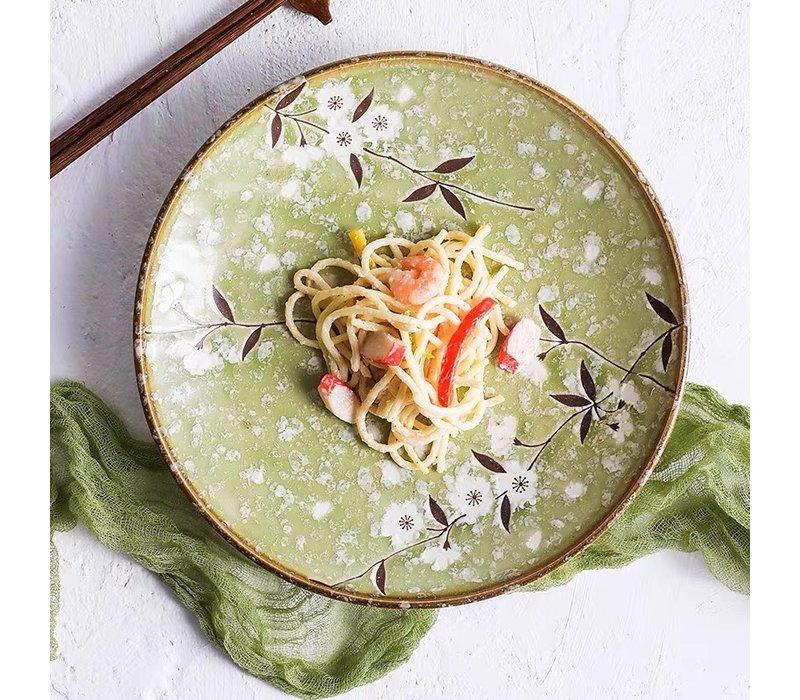 Japans Servies Soshun Glanzend Cosmos Groen - Salade Schaal 24.5x8cm