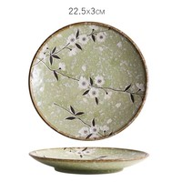 Fine Asianliving Japans Servies Soshun Glossy Cosmos Green - Dinerbord 22.5x3cm