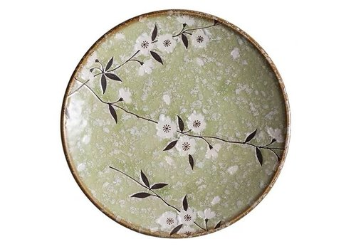 Fine Asianliving Japanese Tableware Soshun Glossy Cosmos Green - Dinner Plate 22.5x3cm