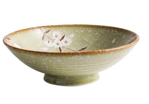 Fine Asianliving Japans Servies Soshun Glossy Cosmos Green - Salade Schaal 24.5x8cm