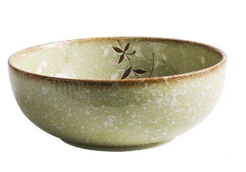 Fine Asianliving Japanese Tableware Soshun Glossy Cosmos Green - Serving Bowl 24x9cm