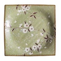 Japanese Tableware Soshun Glossy Cosmos Green - Serving Plate 23x3cm