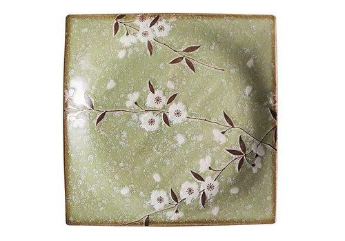 Fine Asianliving Japans Servies Soshun Glossy Cosmos Green - Serveerschaal 23x3cm