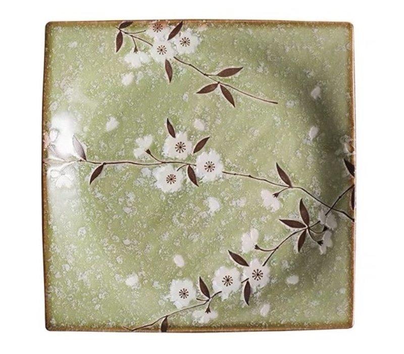 Japans Servies Soshun Glanzend Cosmos Groen - Serveerschaal 23x3cm