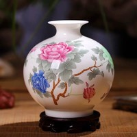 Vaso Cinese in Ceramica Porcellana Peonie Dipinte a Mano