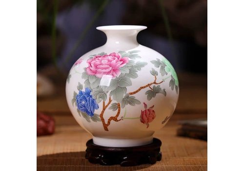 Fine Asianliving Fine Asianliving Chinese Vase Porcelain Handpainted Peonies
