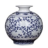 Fine Asianliving Chinese Vaas Porselein Handgeschilderd Blauw-Wit
