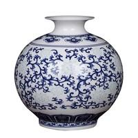 Chinesische Vase Porzellan Handbemalt Blau und Weiß