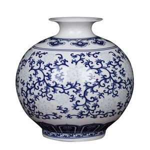 Fine Asianliving Fine Asianliving Chinese Vase Porcelain Handpainted Blue-White